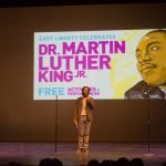 Darrell Kinsel emcees at the Kelly Strayhorn Theater for East Liberty Celebrates MLK 2015.