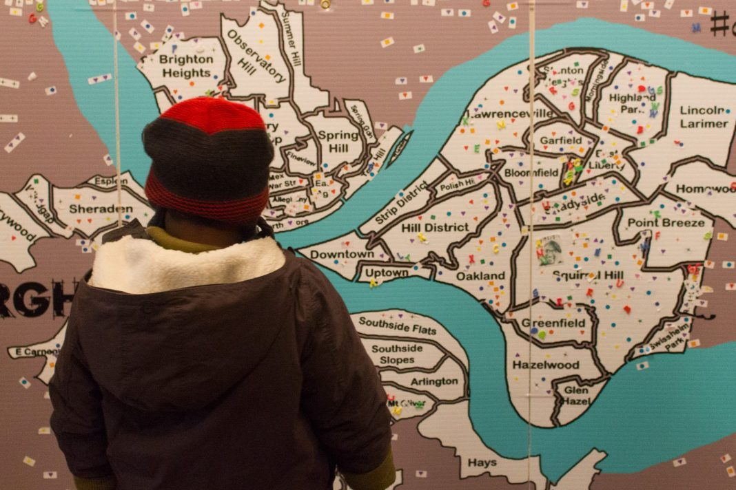 An activity shows a map of Pittsburgh at East Liberty Celebrates MLK 2015.