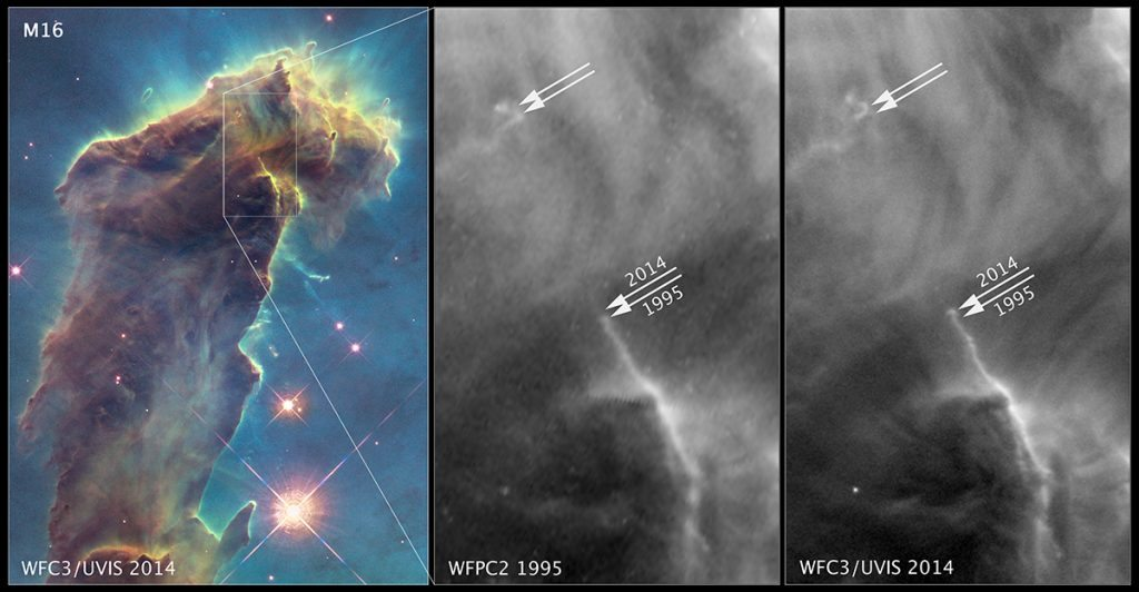 changes noted in 1995 and 2014 pillars of creation images