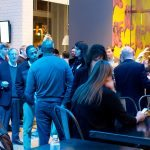 Guests network in the Warhol lobby at Startup Drinks Pittsburgh