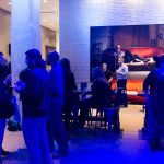 Guests mingle in the Warhol lobby at Startup Drinks Pittsburgh