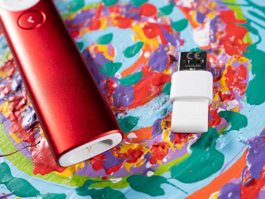 Closeup of Logitech's Spotlight Presenter USB dongle.